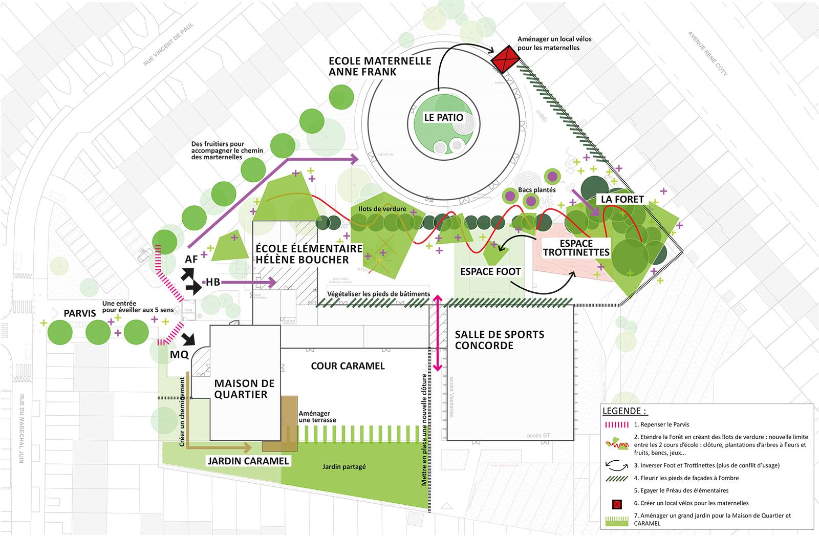 Schéma paysagiste conseil - projet aménagement cour école groupe scolaire Concorde Mons-en-Baroeul