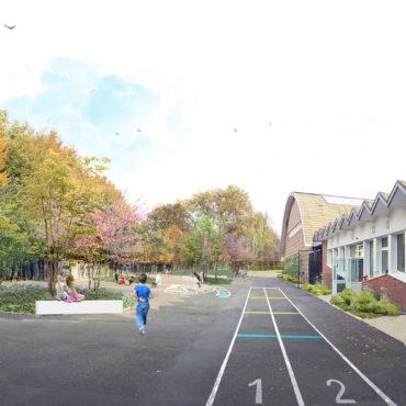 proposition aménagement paysagiste conseil photomontage cour école groupe scolaire Concorde Mons-en-Baroeul