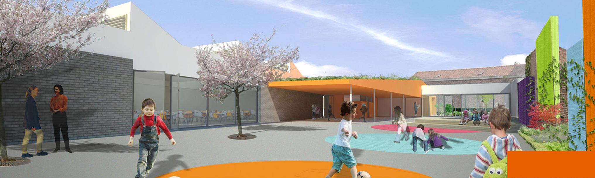 Photomontage projet paysagiste cour d'école Duclos Lanoy à Waziers