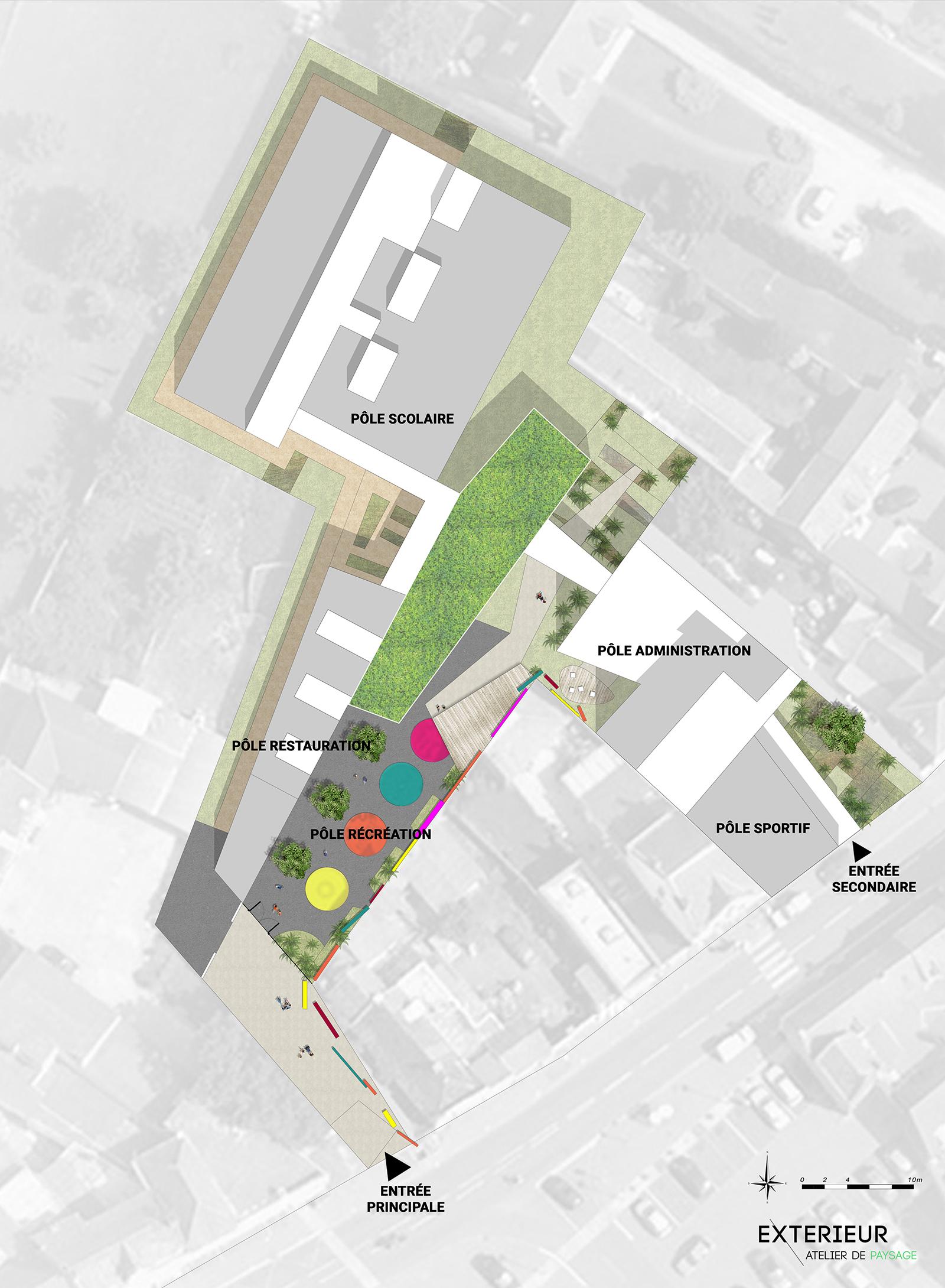 Plan d'aménagement projet paysagiste cour d'école Duclos Lanoy à Waziers