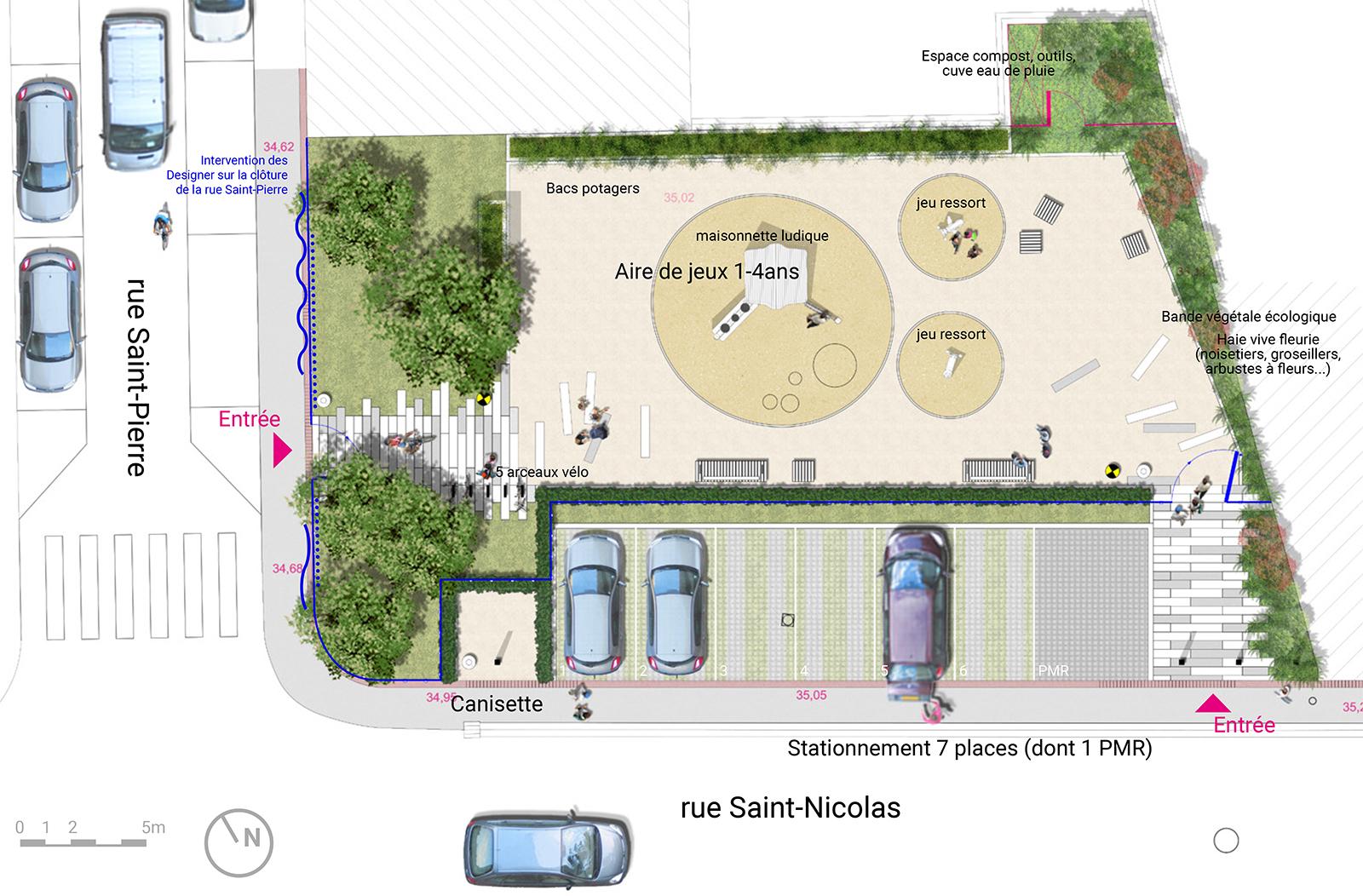 plan aménagement paysager espaces publics square Saint-Nicolas Croix