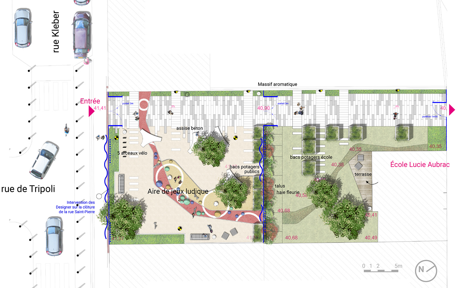 Plan aménagement paysager espace public Parvis Lucie Aubrac