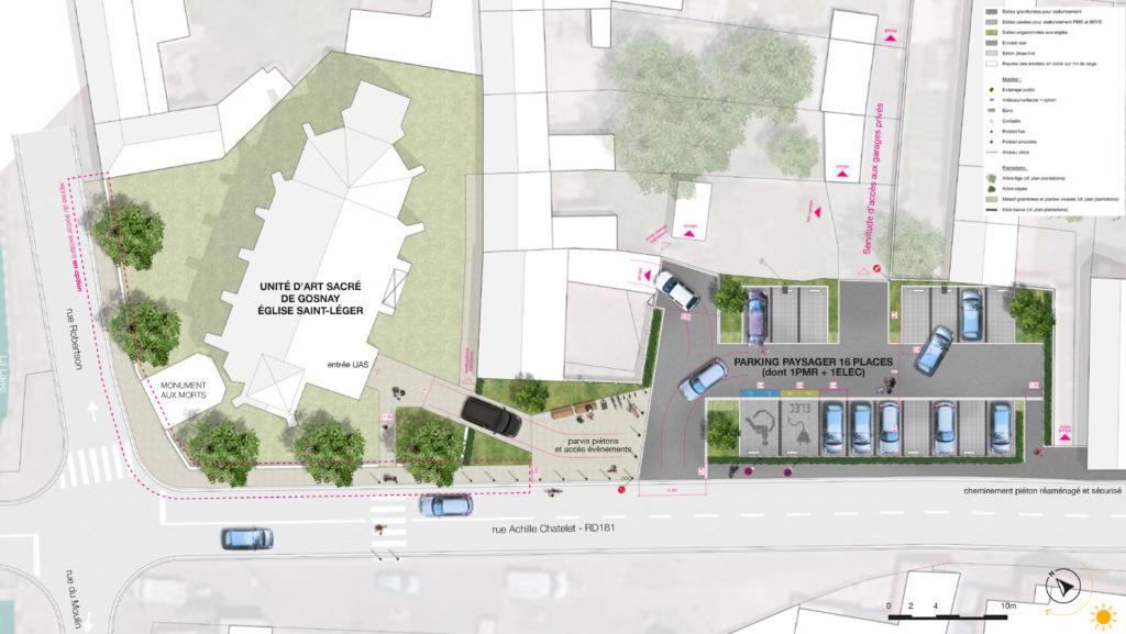 Plan masse projet aménagement parking paysager et parvis Unité d'Art Sacré de Gosnay