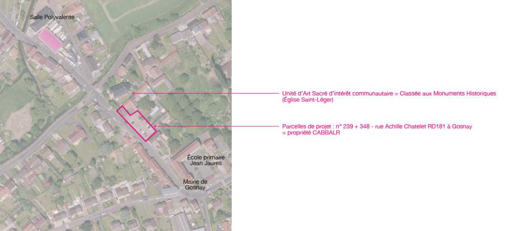 photo aérienne localisation intervention parking paysager Unité d'Art Sacré de Gosnay