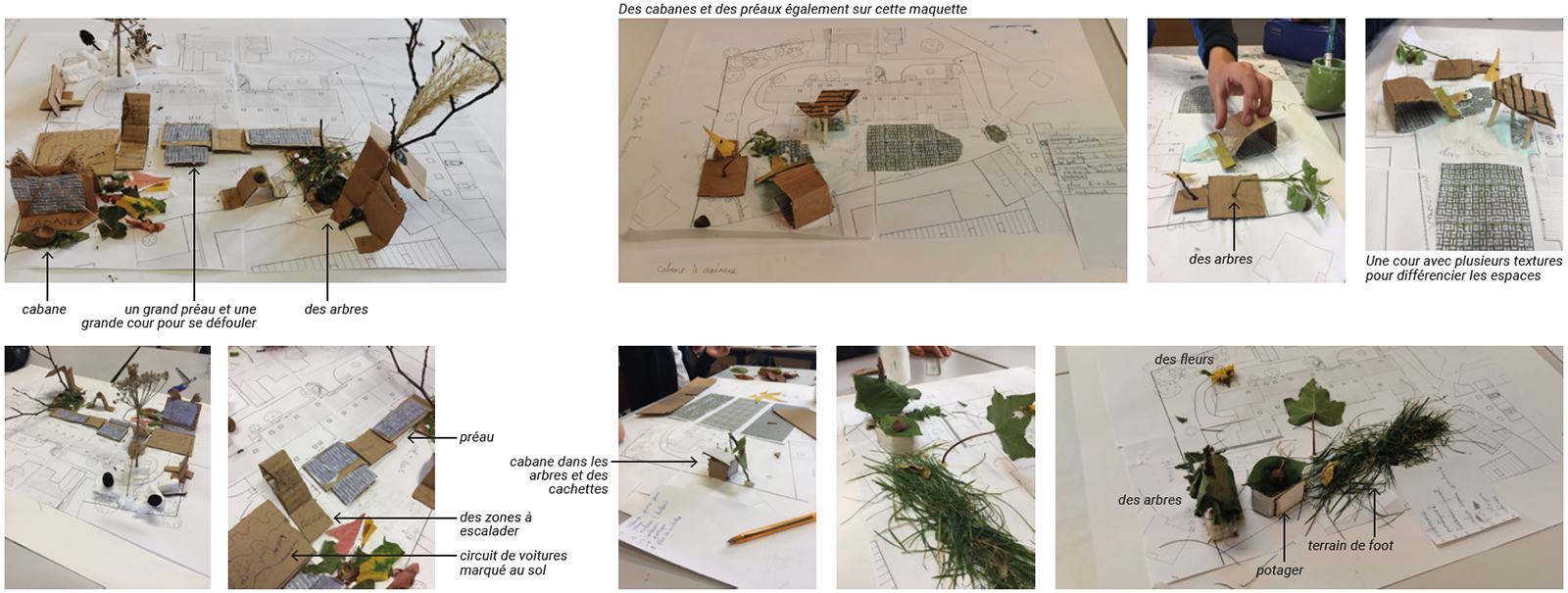 photos atelier co-conception projet paysager cour école avec les enfants école maquette végétale