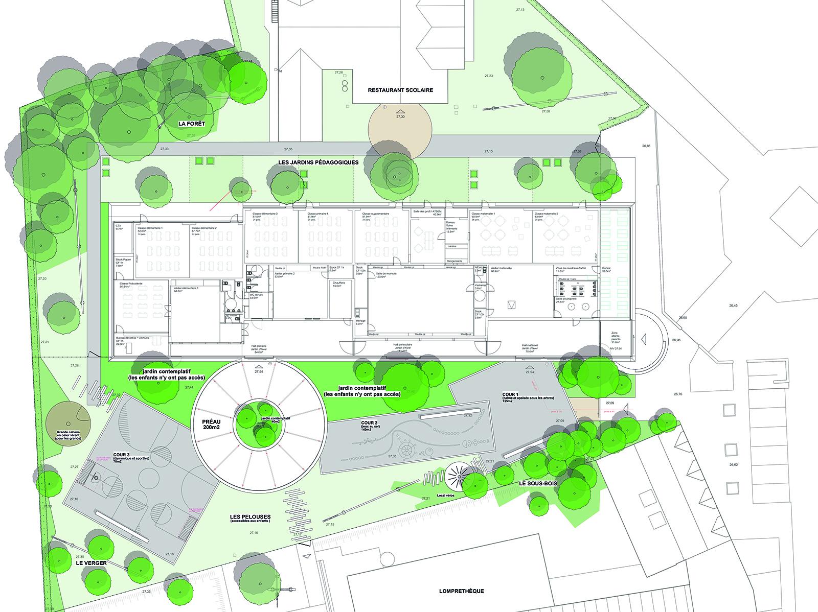 Plan masse projet cour de récréation école Pasteur Lompret EXTERIEUR atelier de paysage