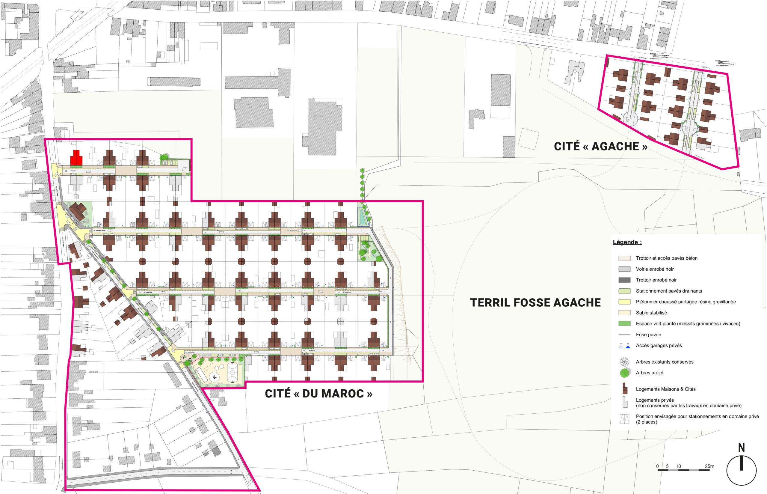 Plan masse projet d'aménagement urbain et paysager de l'ancienne Cité minière Agache à Fenain
