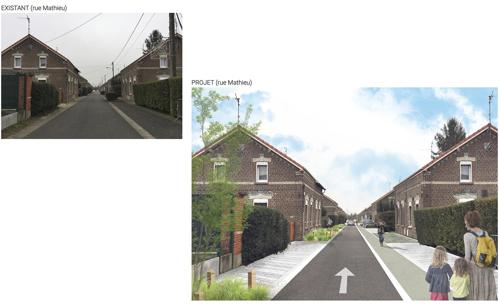 Photomontage avant / après aménagement urbain et paysager de la Cité Agache à Fenain